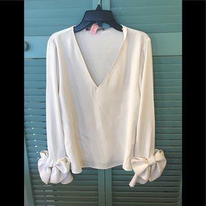 Zara Off White Bow Blouse